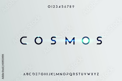 Cosmos, Abstract technology science alphabet font Fototapeta