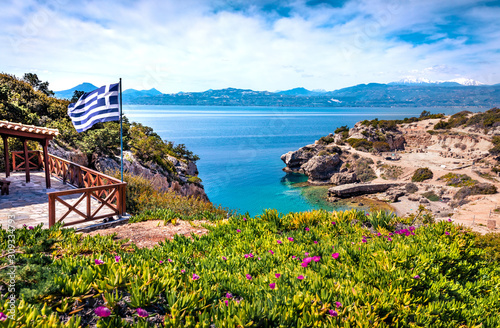 Splendid morning view of West Court of Heraion of Perachora, Limni Vouliagmenis location, Greece, Europe Fototapet