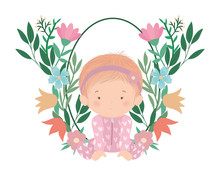 Cute Baby Girl With Flowers And Leaves Vector Design