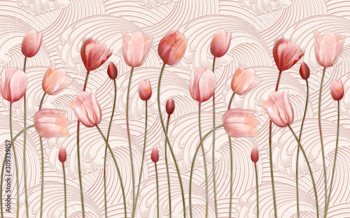 Obrazy do salonu  3d-modern-mural-wallpaper-with-red-flowers-and-chinese-ceramics-marble-background