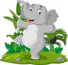 Cartoon Happy Elephant Dancing In The Grass