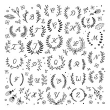 Wreath And Letters Vector Set....
