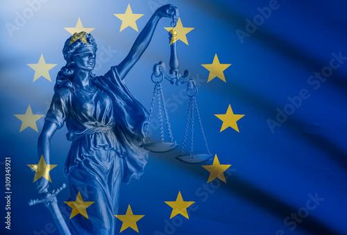 Obraz na plátně Statue of Justice over a European Union Flag