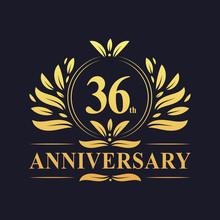 36th Anniversary Logo, Luxurious Golden Color 36 Years Anniversary Logo Design Celebration.