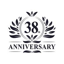 38 Years Anniversary Logo, Luxurious 38th Anniversary Design Celebration.