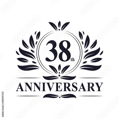 Fotografia 38 years Anniversary logo, luxurious 38th Anniversary design celebration