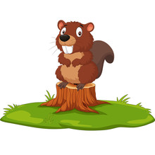 Cartoon Beaver On Tree Stump