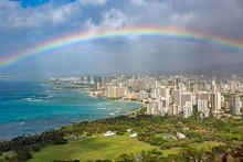 Regenbogen über Waikiki, Honolulu, Oahu.Hawaii