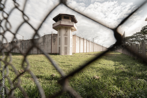 Prison with iron fences Canvas-taulu