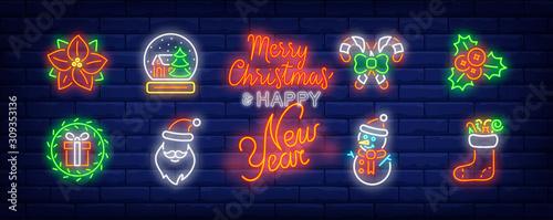 Christmas decor neon sign set. Poinsettia, mistletoe, wreath, gift. Vector illustration in neon style, bright banner for topics like Xmas, December holidays, decoration