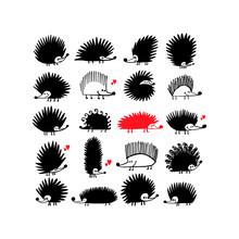 Funny Hedgehog Family, Black Silhouette For Your Design