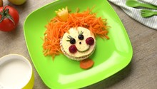 Healthy Food Art Snack For Kids. Funny Face On A Plate