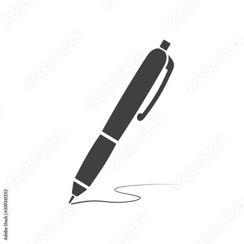 Vector black writing metal pen icon isolated on white background Wallpaper Mural