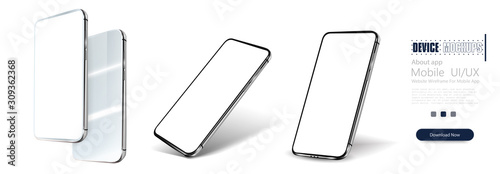 Photo Smartphone frame less blank screen, rotated position