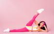 Leinwanddruck Bild - Color background with sport girl, 80s, aerobic