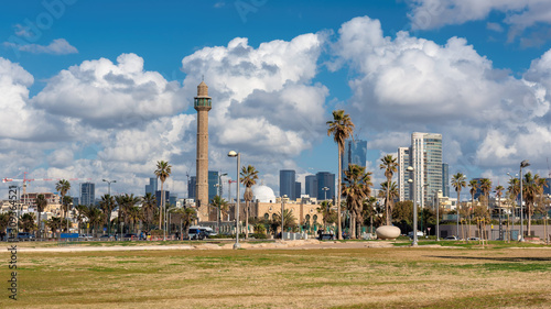 Tel Aviv City skyline at sunny day, Israel Wallpaper Mural
