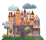 Medieval castle with trees, flowers and clouds. Hand drawn illustration.