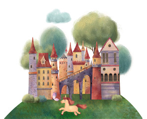 Medieval castle with trees, unicorn and clouds. Hand drawn illustration.