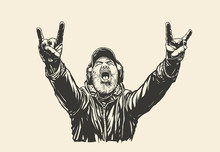 Old Bearded  Rocker Shows Sign Of The Horns Symbol.  An Elderly Man In Headphones Listens To Rock And Shows A Characteristic Heavy Metal Hand Gesture. Vector Illustration.