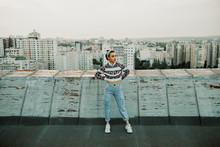 Confident Urban Lady On Roof