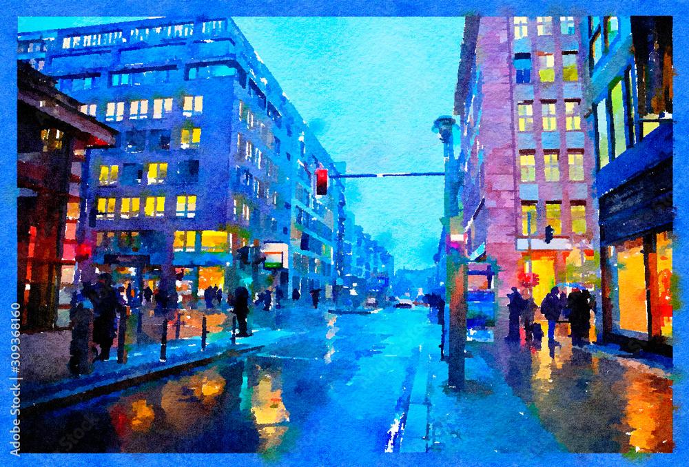 evening Berlin in December, watercolor style
