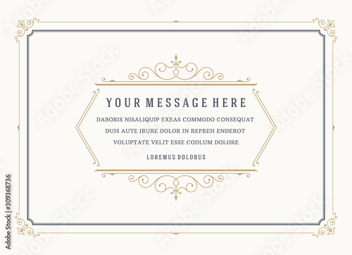 Vintage ornament quote marks box flourish frame vector template design and place for text