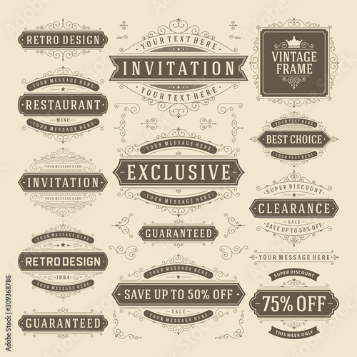 Vector vintage flourish ornament design elements labels or badges and ornate dec Canvas Print