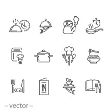 Cooking Icon Set, Cook Recipe, Kitchen Time, Pan, Pot, Chef And More, Thin Line Web Symbols On White Background - Editable Stroke Vector Illustration Eps10