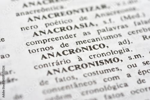 A palavra Anacrônico impressa num dicionário Canvas Print