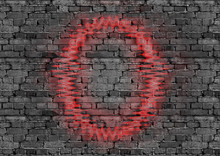 Brick Wall With Red Neon Frame For Design