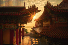Sunset From The Wen Wu Temple At The Sun Moon Lake In Taiwan
