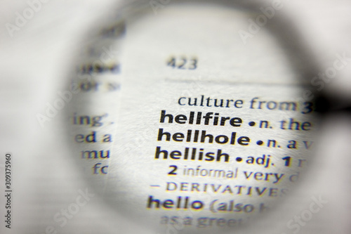 The word or phrase Hellfire in a dictionary. Canvas-taulu