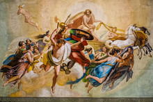 Artistic Fresco Of The Nineteenth Century With Apollo And Other Gods