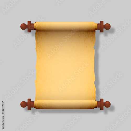 Old realistic scroll with wooden handles. Vector illustration. © Максим
