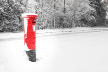 Post Box In The Snow On A Cold Winters Day
