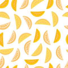 Vector seamless pattern with ginger citrus slices on a white background. For design packaging, textile, background, design postcards and posters.