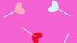 Bright, adorable animation of falling lollipops. Candies colorful background.