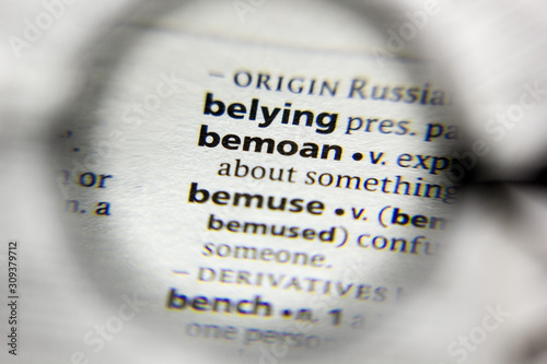 Photo The word or phrase bemoan in a dictionary.