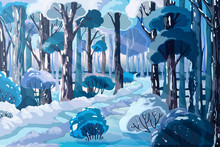 Winter Forest Landscape With Beautiful Snowy Trees And Country Road. Holiday Scenery Background With Trees And Sun Rays Through Branches. Vector Illustration