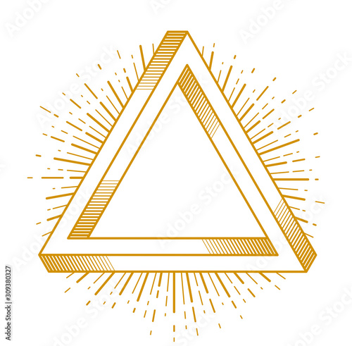 Tela Sacred geometry triangle dimensional 3d impossible shape, vector logo or emblem design element