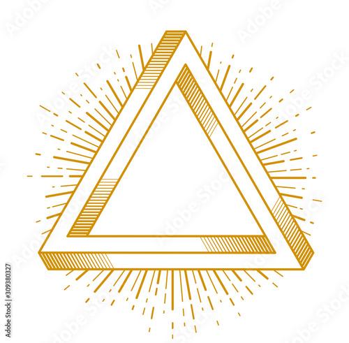 Fotomural Sacred geometry triangle dimensional 3d impossible shape, vector logo or emblem design element