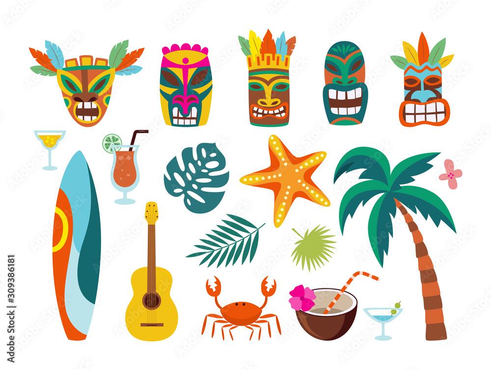 Fototapeta Hawaiian symbols - masks and surfboards, flat vector illustration isolated set.