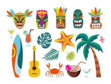 Hawaiian Symbols - Masks And Surfboards, Flat Vector Illustration Isolated Set.
