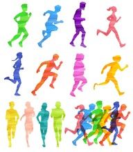 Colorful Runner Crowd Silhouet...
