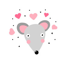 Kawaii Mouse In Love. Cute Gray Mouse With Big Eyes And Pink Hearts Around Isoded On A White Background. Minimalistic Surprised Character - Vector Illustration, Sticker, Postcard, Childish Design