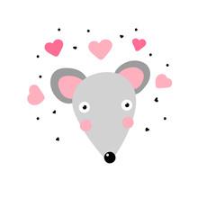 Kawaii Mouse In Love. Cute Gra...