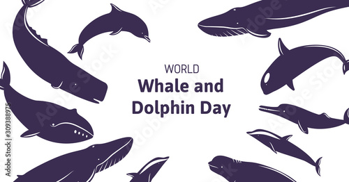 Obraz na plátne Festive banner with text World Whale and Dolphin Day