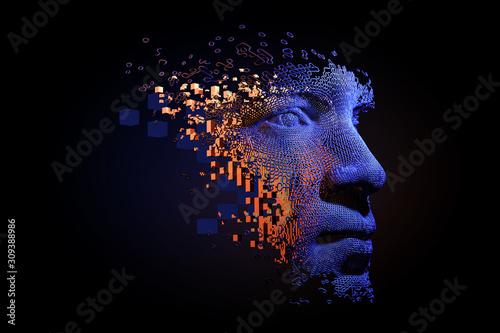 Fotografía Abstract digital human face