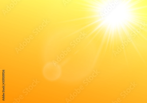 Fototapeta Sun shining in the sky realistic vector illustration on yellow background. obraz na płótnie