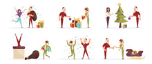 Santa Claus And Elf Cartoon Characters Set. Cheerful Men In Traditional Christmas Outfits Delivering Presents Flat Vector Illustrations Pack. Happy People Celebrating New Year, Winter Holiday